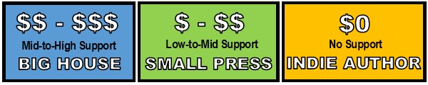 Promotion Support: Big House Mid-to-High Support, Small Press Low-to-Mid Support, Indie Author No Support