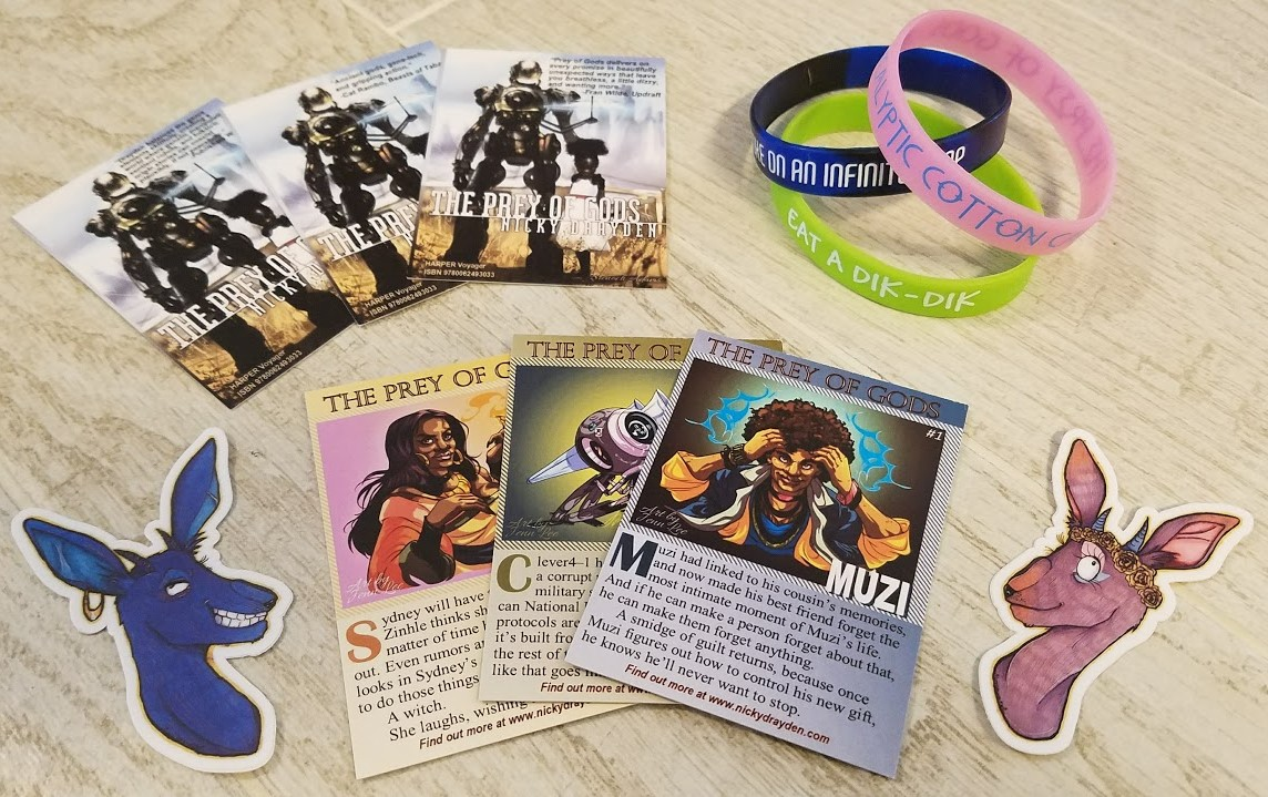 Awesome swag: Trading cards, dik-dik stickers, and wristbands