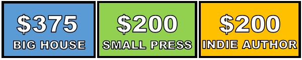 SWAG: $375 for Big House, $200 for Small Press, $200 for Indie Author